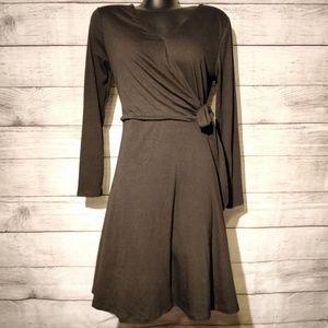 Black Long Sleeve Faux Flare Wrap Dress